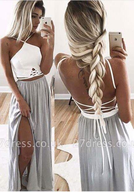 Sexy Halter Prom Dress UK Split Long Chiffon TH116