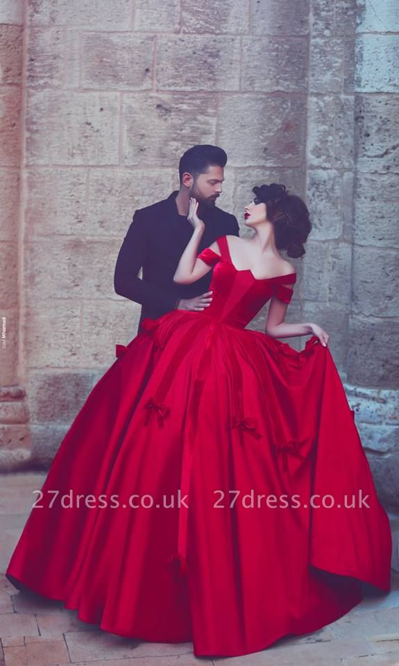 Newest Red Bowknot Ball Gown Evening Dress UK Off-the-shoulder Floor-length
