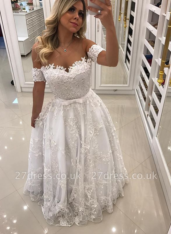 Modern White Beads Lace A-line Evening Dress UK | Off-the-shoulder Evening Gown