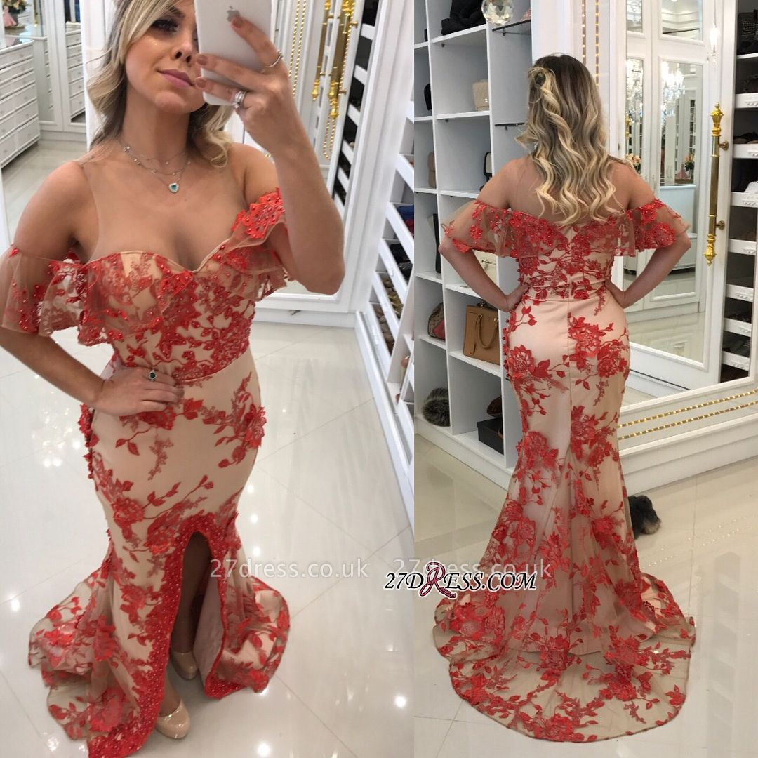 Off-the-Shoulder prom Dress UK, lace evening gowns