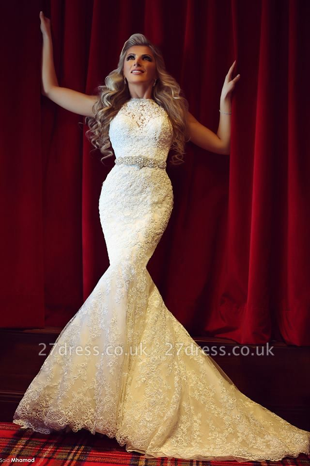Gorgeous Lace Sexy Mermaid Wedding Dresses UK Beadss Sweep Train Bridal Gowns with Bottons