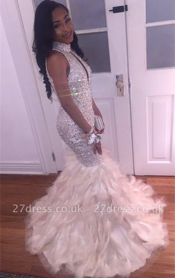 Luxury Mermaid High Neck Prom Dress UK | Crystals Prom Dress UK BK0 BA8256