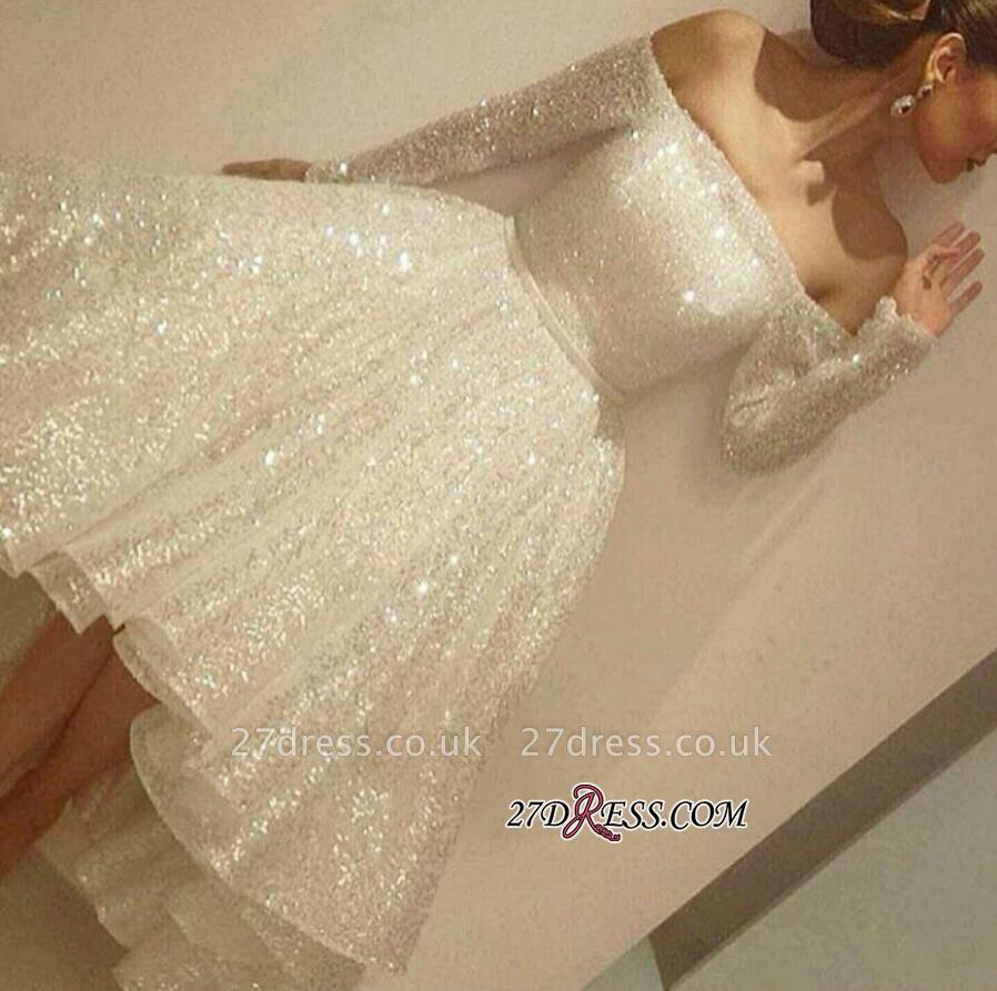 Bling Short Off-the-Shoulder Long-Sleeves Bling Tiers-Skirt Prom Dress UKes UK BA3706