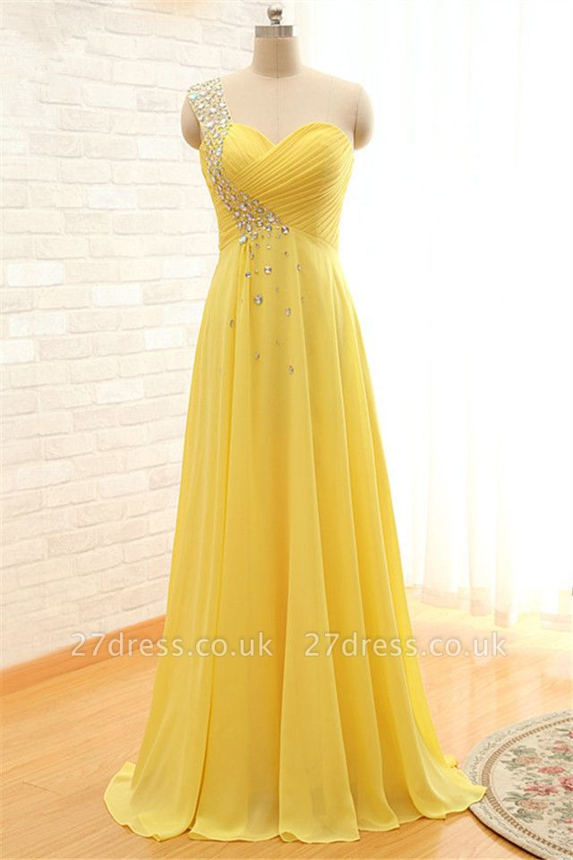 Sexy One-shoulder Sleeveless Chiffon Prom Dress UK With Crystals