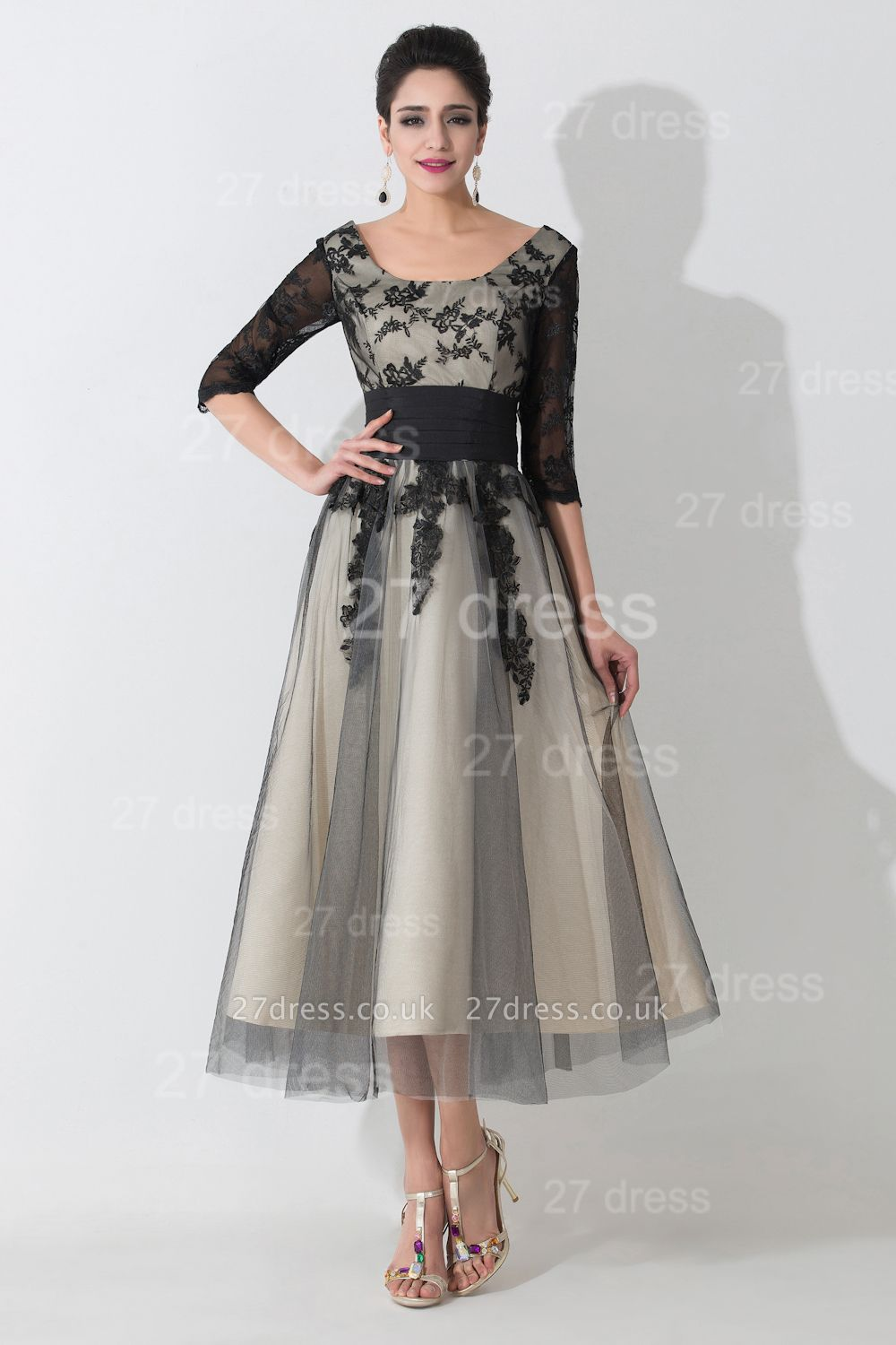 Newest Lace Appliques Tulle Evening Dress UK Half Sleeve