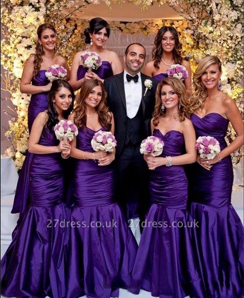 Modern Purple Sweetheart Mermaid Long Bridesmaid Dress UKes UK BA9011
