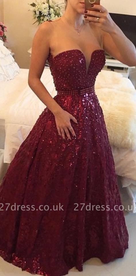 Sweetheart Beadings A-Line Evening Dress UKes UK Elegant Floor Length Prom Gowns