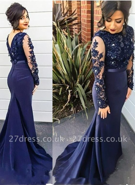 Delicate Lace Appliques Beading Prom Dress UK Mermaid Long Sleeve BA2728