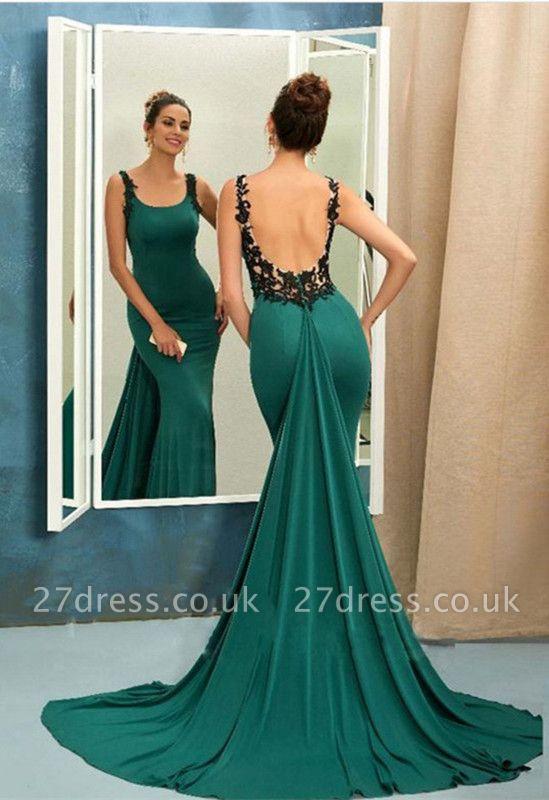 Scoop Green Evening Dress UK   Mermaid Ruffles Prom Dress UK