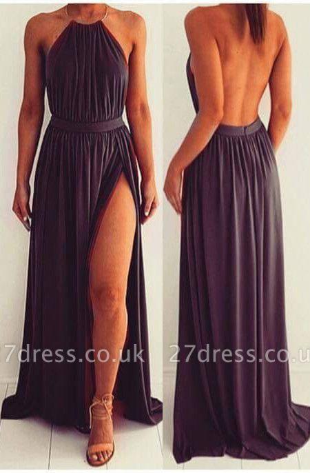 Elegant Black Halter Backless Prom Dress UK Long