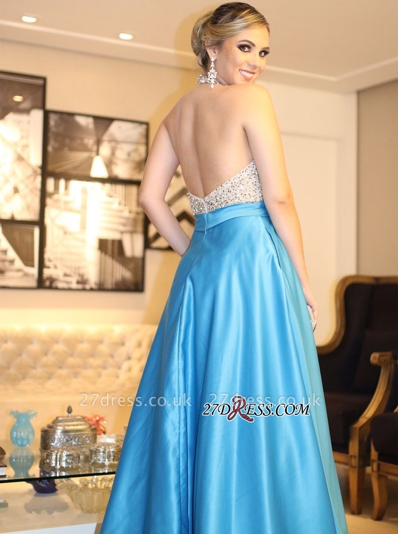 Blue backless prom Dress UK, long evening gowns with beads