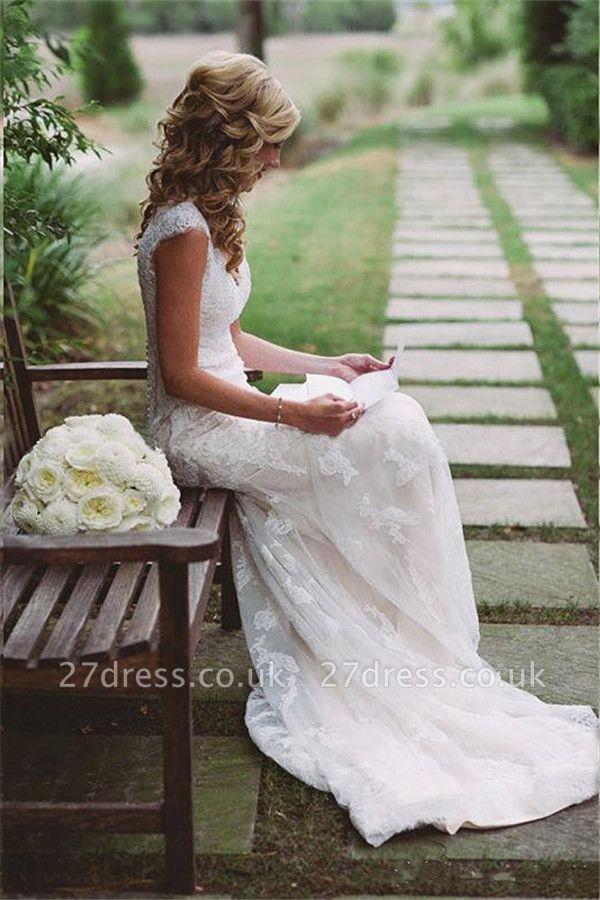 Elegant Lace Appliques Wedding Dress Button Zipper Back Straps BA4624