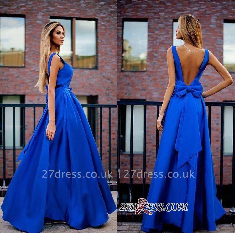 Open-Back Royal-Blue Sexy Floor-Length Bowknot Prom Dress UKes UK MM0003