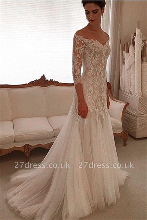 Elegant Off-the-shoulder 3/4 Length Sleeve Wedding Dress Lace Tulle