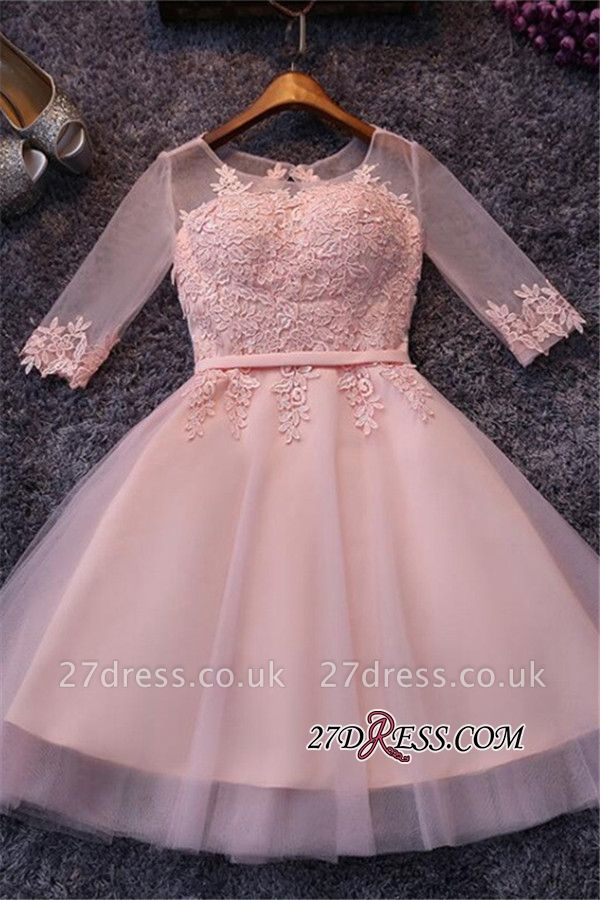 Appliques Short Half-Sleeves Tulle Pink Homecoming Dress UKes UK