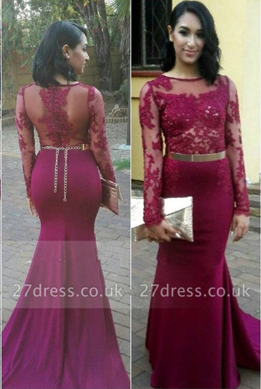 Gorgeous Long Sleeve Lace Appliques Evening Dress UKes UK Long Zipper Back