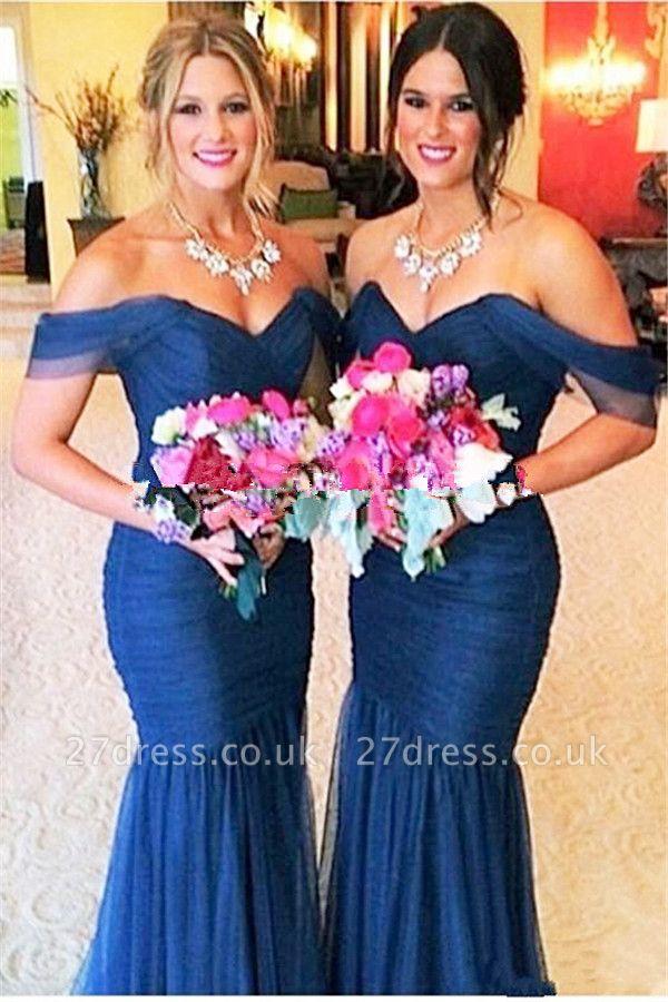 Elegant Off-shoulder Mermaid Bridesmaid Dress UK Floor-length With Tulle