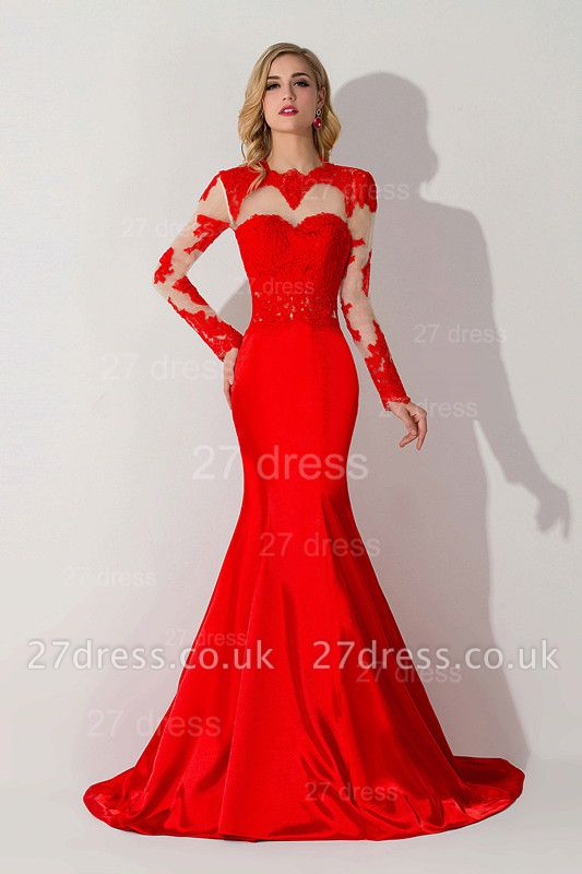 Elegant Red Mermaid Lace Appliques Evening Dress UK Long Sleeve
