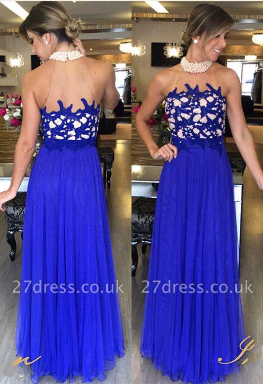 Tulle Royal-Blue Beading Luxury Halter High-Neck Long Prom Dress UKes UK