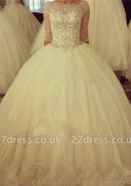 Delicate Half Sleeve Tulle Lace Wedding Dress Ball Gown BA6908