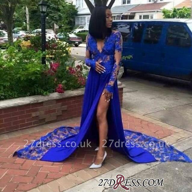 Royal-Blue Lace Deep-V-Neck Elegant Side-Slit Long-Sleeves Prom Dress UKes UK BK0 BA7902