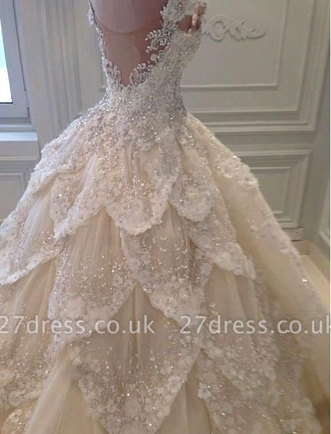 Luxurious Off-the-Shoulder Beads Wedding Dresses UK Ball Gown Long Train