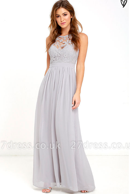 Sexy Long Chiffon Lace Prom Dress UK Floor Length