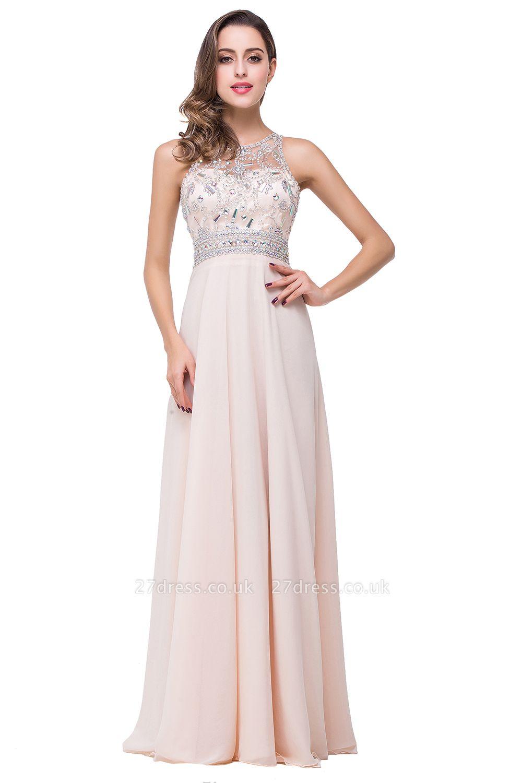 Sexy Beadings Chiffon A-line Prom Dress UK Zipper Illusion