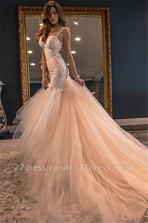 Elegant Sleeveless Lace Appliques Wedding Dress Sexy Mermaid Tulle WE0166