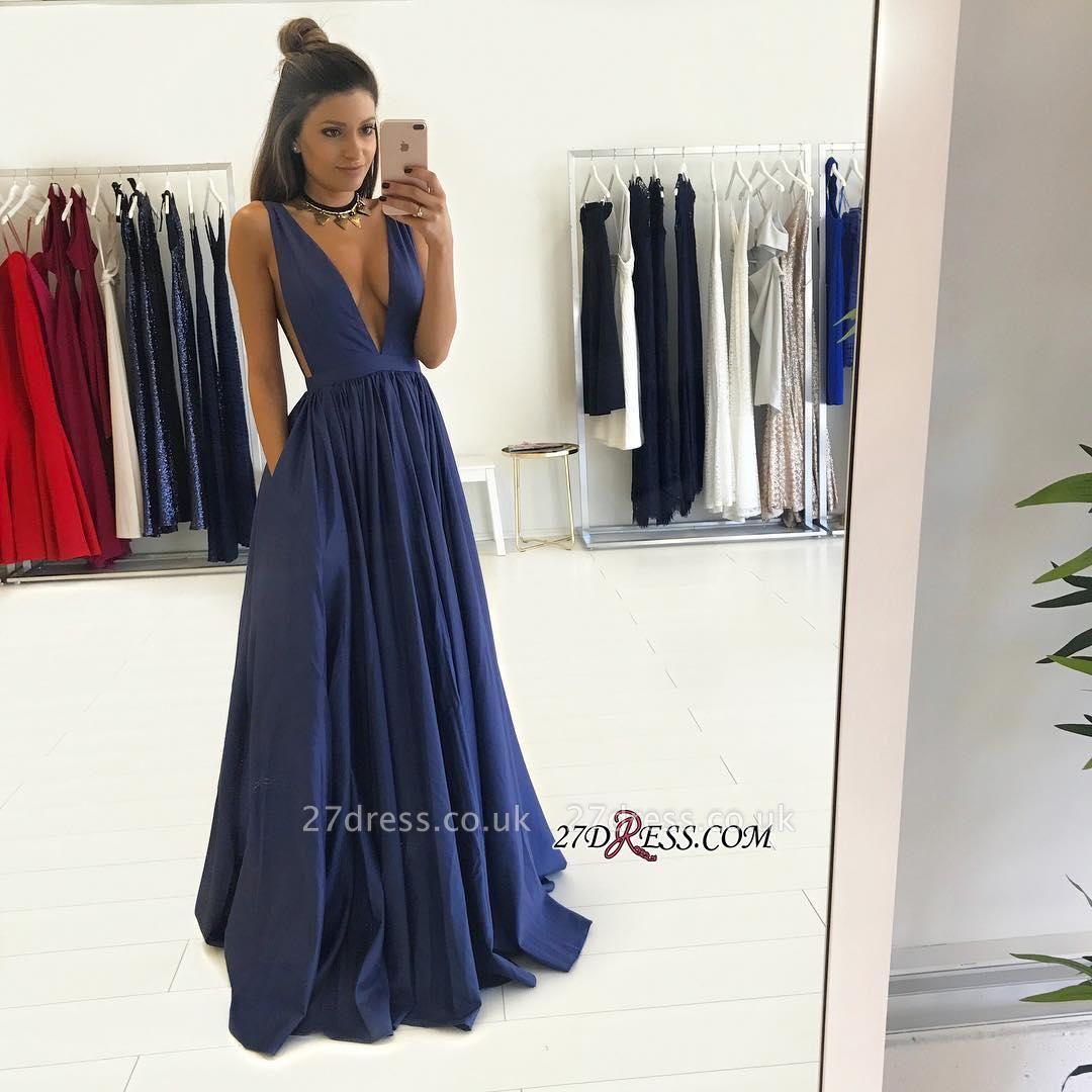 V-Neck Long Floor-Length Luxury Sleeveless Prom Dress UK BA4950