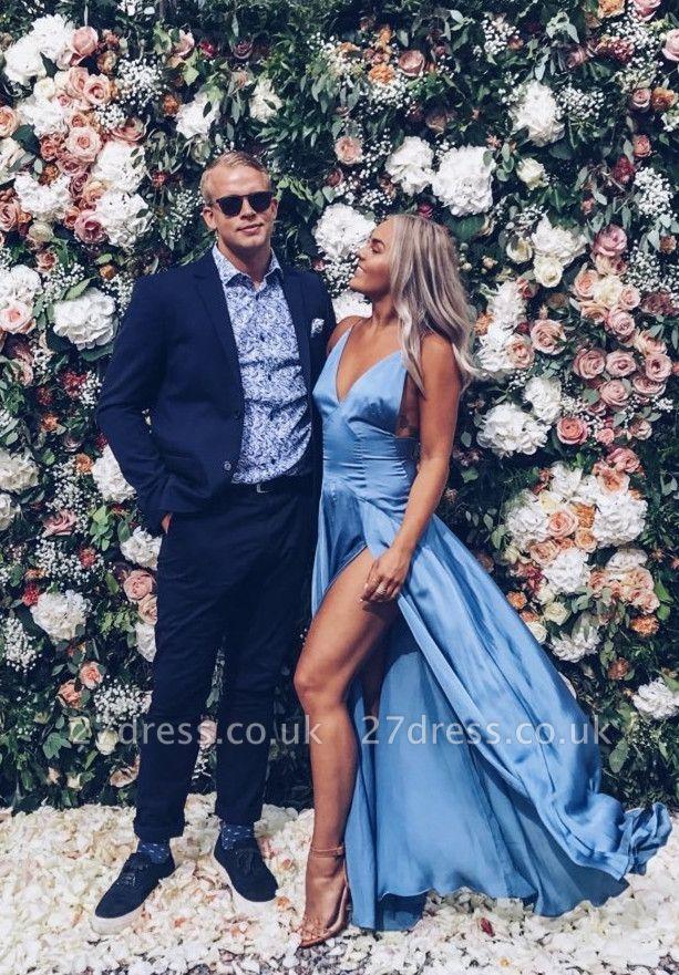 Sky Blue V-Neck Prom Dress UK Long With Split BA8121
