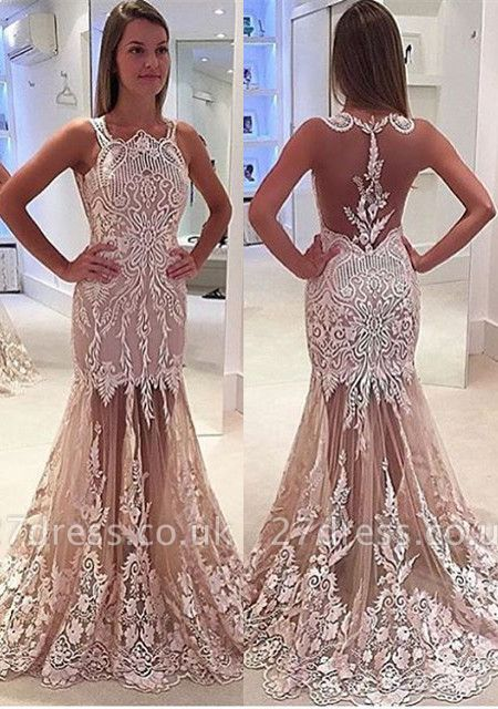 Luxury Sleeveless Designer Prom Dress UK Mermaid Lace Tulle Sheer Skirt BA4885