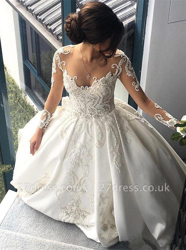 Gorgeous Long Sleeve Lace Buttons Wedding Dress Zipper Button Back