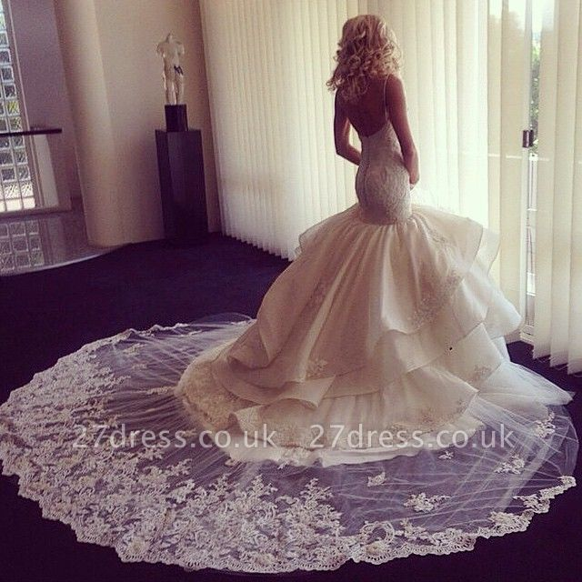 Fairy Open Back Lace Sexy Mermaid Wedding Dress With Ruffles