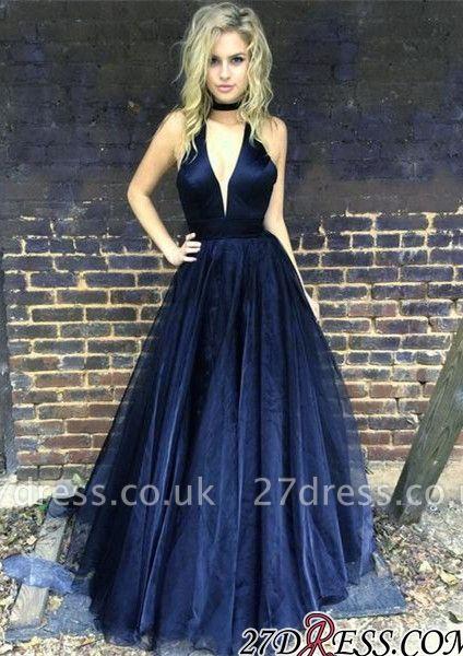 Sleeveless Black Newest A-line Floor-length V-neck Prom Dress UK BA6656