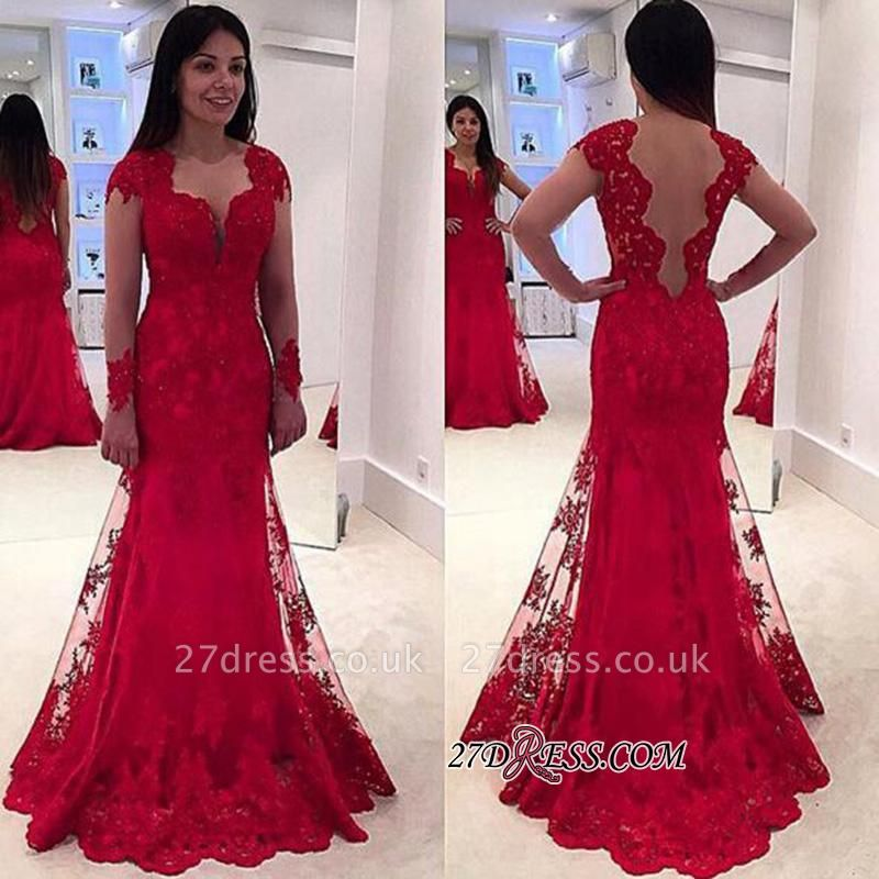 Lace A-line Sweep-Train Modern Long-Sleeve Red Prom Dress UK BA4006