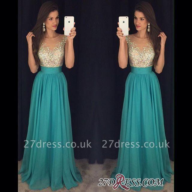 Chiffon Scoop Long Floor-Length Crystal Sexy Prom Dress UK