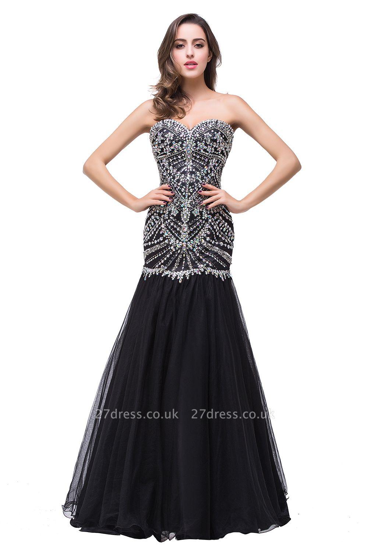 Gorgeous Crystals Black Mermaid Prom Dress UK Sweetheart Sleeveless Zipper