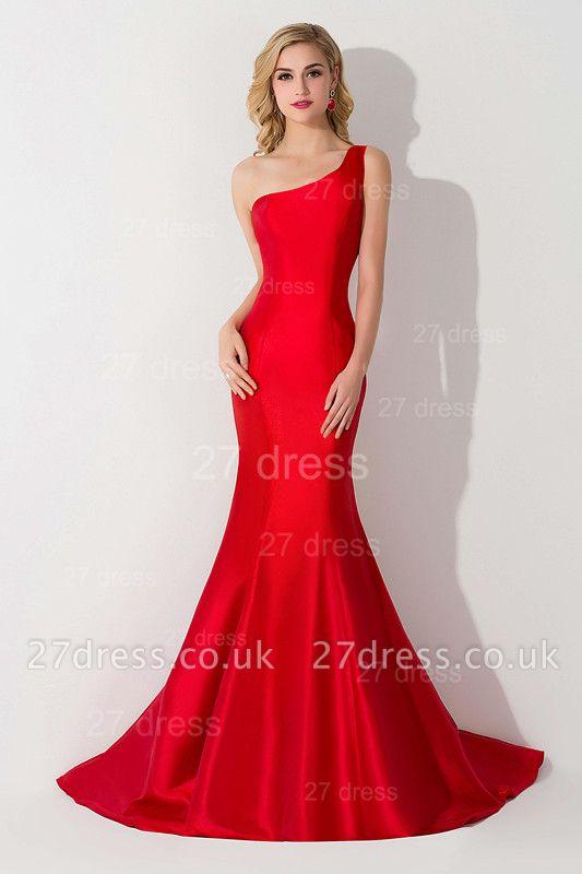 Modern One Shoulder Red Mermaid Evening Dress UK Sweep Train