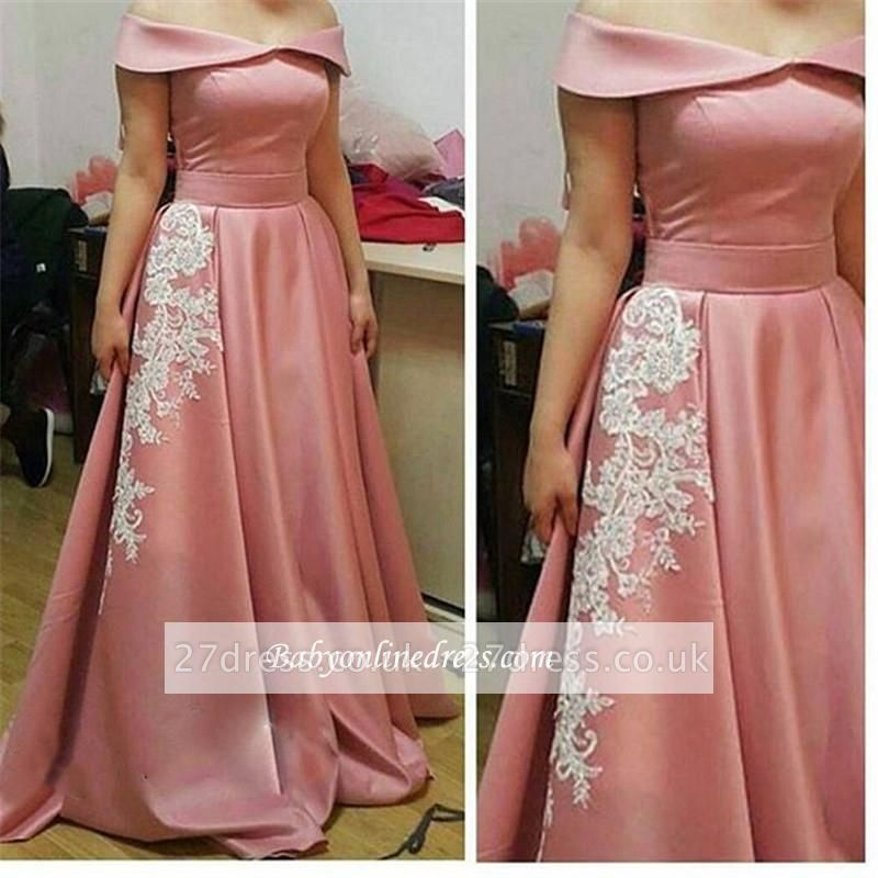 Glamorous Pink Off-the-Shoulder Party Gowns A-Line Appliques Prom Dress
