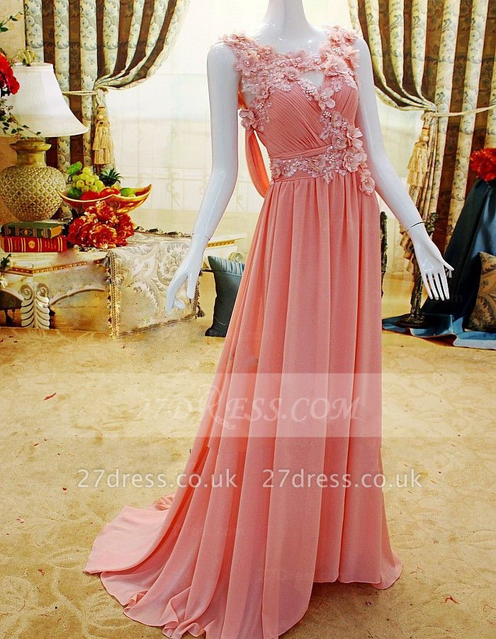 Flower Prom Dress UKes UK Evening Gowns with Pink Pearls Appliques Chiffon Lace Sleeveless Sweep Train A-line