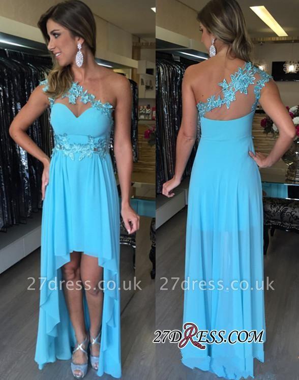 Sleeveless Empire Chiffon Hi-Lo Applique One-Shoulder Prom Dress UKes UK