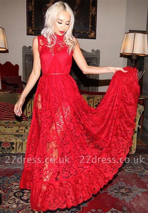 Elegant High Neck Sleeveless Red Evening Dress UK Lace