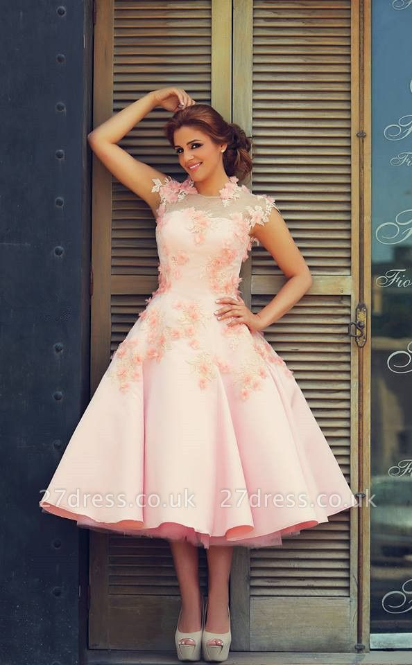 Lovely High Neck Cap Sleeve Prom Dress UK Pink With Flowers