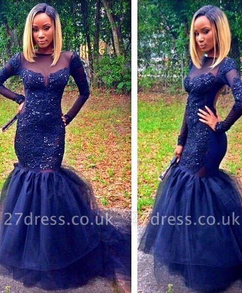 Sparkly Navy Blue Long Sleeve Prom Dress UKes UK Mermaid Appliques