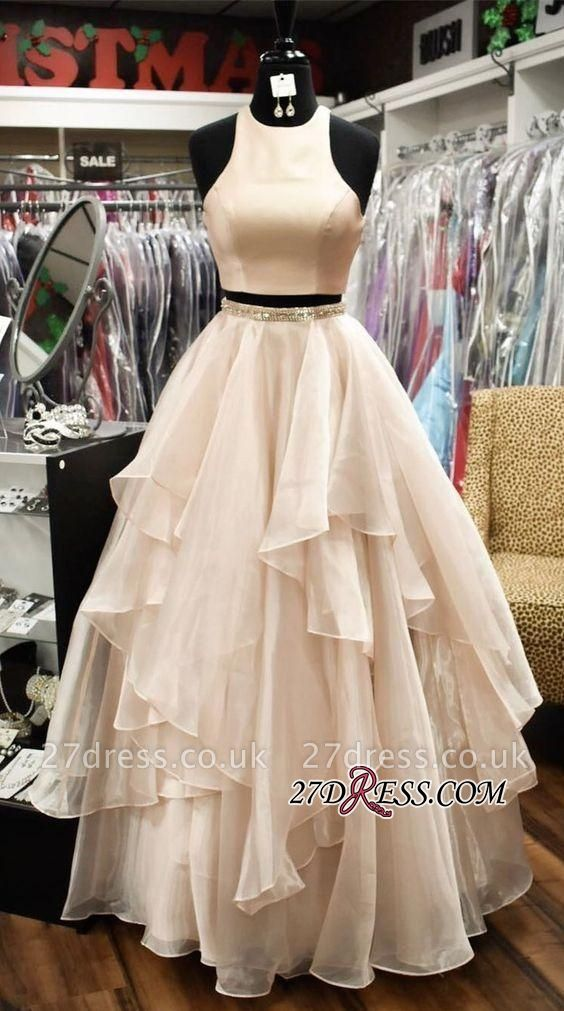 Chic Two-Pieces A-Line Jewel Sleeveless Tiere Prom Dress UKes UK
