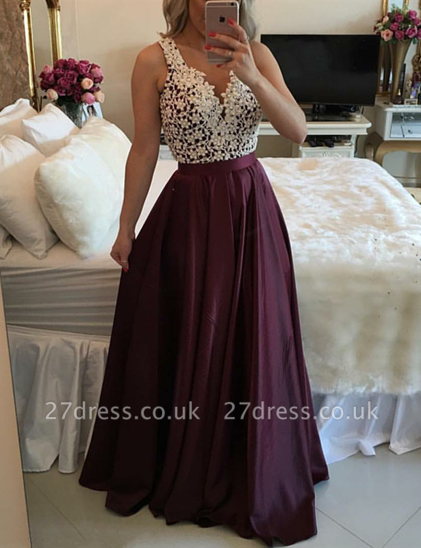 Luxury Sleeveless Lace Evening Dress UK Floor Length BT BA3697