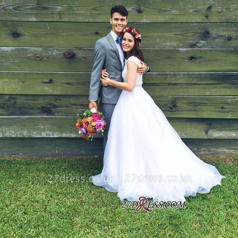 Lace Beads Zipper Delicate Cap-Sleeve Jewel A-line Wedding Dress