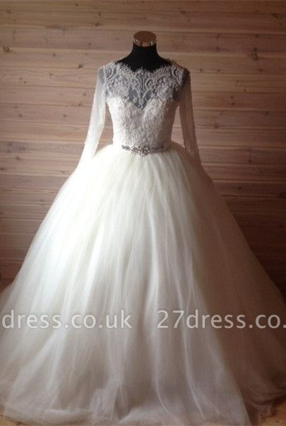 Elegant Tulle Lace Crystals Wedding Dress Ball Gown Long Sleeve