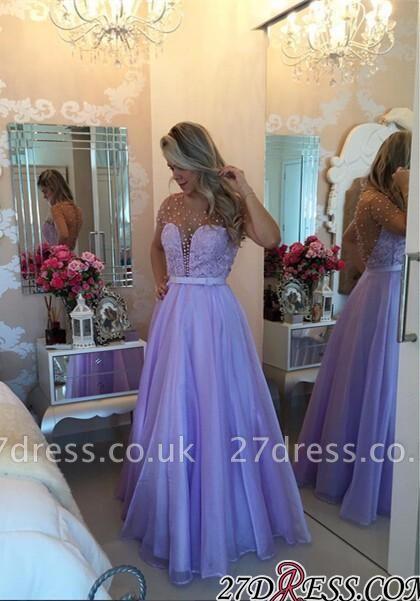 Long Puffy Short-Sleeves Romantic Sheer Lavender Pearls Prom Dress UKes UK BA4789